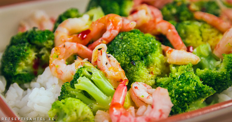 Brokoli ja krevettidega Retseptisahtel