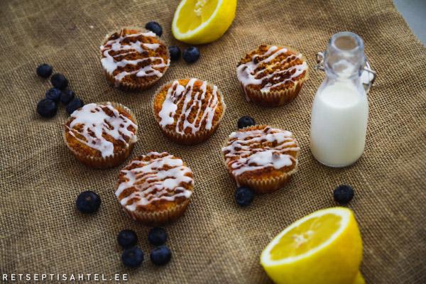 Täisterajahust muffinid sidruni ja mustikatega Retseptisahtel