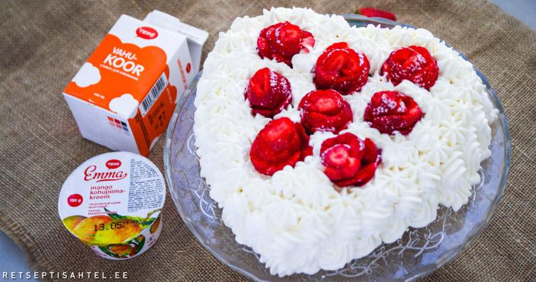 Südamekujuline tort mango kohupiimakreemiga Retseptisahtel