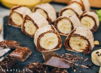 Banaani šokolaadi rullid